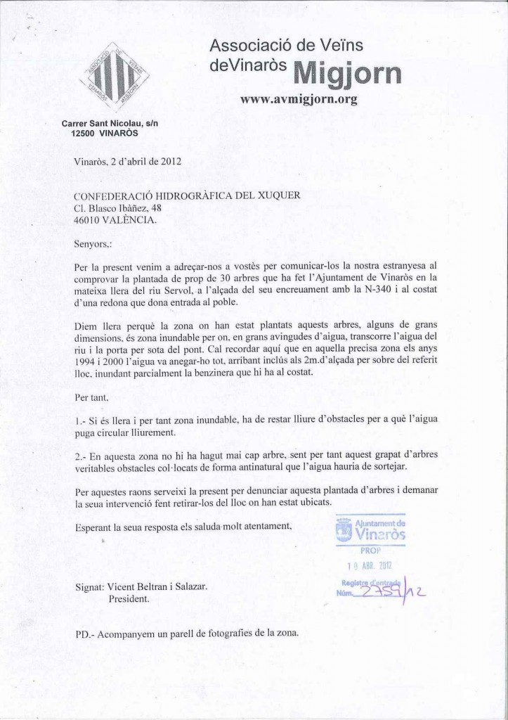 LES OLIVERES DEL RIU, DENUNCIA DE MIGJORN I CONTESTACIÓ DE LA CONFEDERACIÓ
