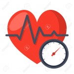 Blood pressure concept with blood pressure meter and heart, vector illustration in flat style