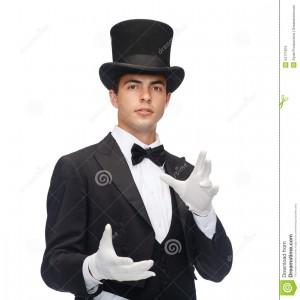 mago-en-truco-de-la-demostración-del-sombrero-de-copa-34771815